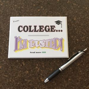 "NWT Note Cards ""College...I'm Busted! Send more $"""